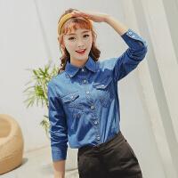 2018秋季新款韩版宽松POLO领全棉牛仔衬衫女长袖显瘦中长款衬衣