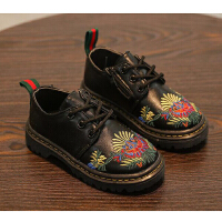 韩版影楼拍照摄影皮鞋 特色黑色拍照影楼儿童皮鞋 黑色系带中性鞋