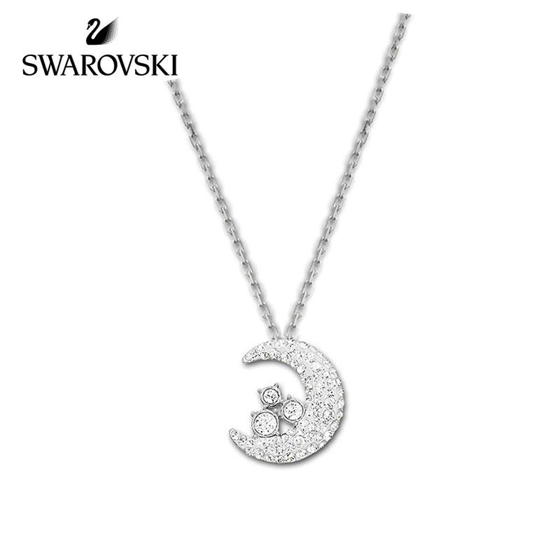 SWAROVSKI/施华洛世奇 TOUGH MOON水晶般质地月亮镀白金色项链 1181093正品保障(可使用礼品卡)