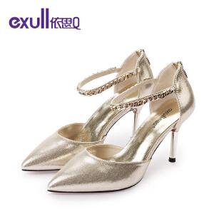 依思q新款纯色高跟尖头后拉链细跟女鞋