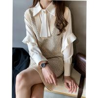 针织连衣裙女春装中长款复古优雅长袖衬衫两件套气质打底裙子套装 均码