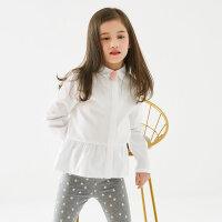 【2件2.5折到手价:37.25】米喜迪mecity童装冬新款女童长袖衬衫宽松廓型褶摆衬衣
