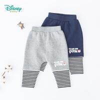 【限时抢:25.9】迪士尼Disney童装 草莓熊假两件哈伦裤男童宽松PP裤秋季新品条纹拼接裤子193K894