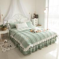 加厚春秋保暖天鹅绒床裙式床罩式四件套韩式水晶短毛绒被套1.8米