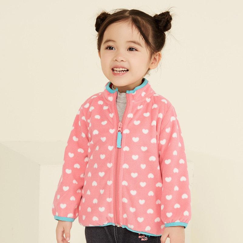 美特斯邦威旗下moomoo童装男女婴童秋冬装多彩撞色保暖超细摇粒绒宝宝外套