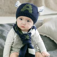 潮2-4岁儿童帽子男女婴儿帽秋冬宝宝帽子围脖手套6-12个月毛线帽 建议6-36个月(45-52CM头围