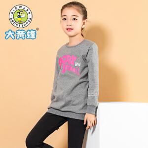 大黄蜂童装 女童秋季T恤小女孩休闲长袖2018新款儿童加绒上衣可爱