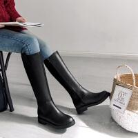 秋冬2017加绒韩版内增高英伦侧拉链长靴高筒靴子马靴女中筒靴女鞋