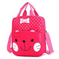 手提包书包书袋女童宝宝单肩包儿童斜挎包男童 胡子猫红