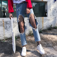 春季新款韩版高腰显瘦膝盖大破洞牛仔裤乞丐九分裤b风铅笔直筒裤