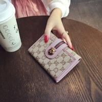 钱包女短款新款韩版折叠简约欧美印花百搭多功能零钱位小钱夹