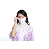 夏季防晒口罩女防紫外线薄款透气防尘雾护颈披肩遮面蕾丝面纱口罩