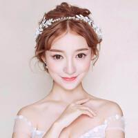 新娘发带头饰婚礼白色发箍婚纱配饰结婚发饰手工首饰品