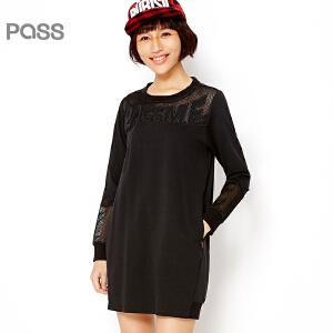 PASS原创潮牌春装新款 潮流性感透视网纱长袖圆领套头短连衣裙6612411006