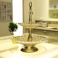 双层珠点水果盘创意摆件家居日用品装饰器皿 (小24+大36)*48