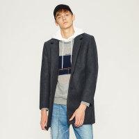 【1件3折到手价:104.97】MECITY男装中长款修身羊毛呢大衣韩版保暖外套