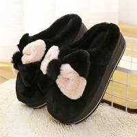 棉拖鞋女包跟厚底可爱加绒加厚室内家居蝴蝶结高跟拖鞋冬保暖防滑