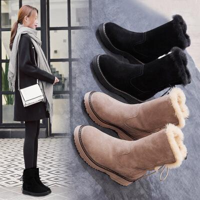 雪地靴女冬季2018新款磨砂真皮中筒靴厚底百搭休闲加厚棉鞋女靴SN5467