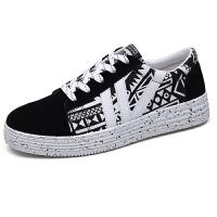 秋季小码男鞋子中学生帆布鞋运动休闲鞋韩版青少年板鞋涂鸦潮鞋真皮