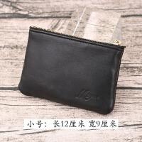 时尚零钱包拉链短款钱包女软皮羊皮硬币包卡包简约小钱袋男士皮夹 黑色 小号