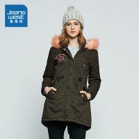 真维斯女装 冬装 纯棉中长宽松连帽棉外套