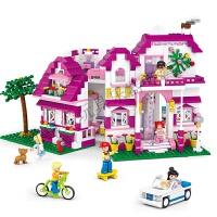 小鲁班拼装积木玩具模型阳光别墅女孩拼插智力玩具