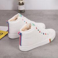 女鞋冬季高帮棉鞋女保暖大棉加绒运动鞋初中学生大童小白鞋女 白色