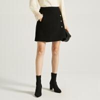 【2件3折,限16-18日】商场同款迪赛尼斯2020冬季新款绵羊毛毛呢通勤半身裙黑色短裙女士