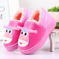 №【2019新款】冬天儿童穿的棉拖鞋男女童可爱宝宝防水PU毛毛鞋小孩棉鞋包跟