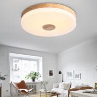 雷士照明 北欧宜家吸顶灯实木质圆形简约现代创意个性led卧室灯具