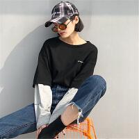 长袖t恤女宽松韩版学生百搭春装新款假两件中长款打底体恤上衣潮