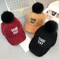 冬季新款韩版女童男童字母加厚棒球帽宝宝毛球冬季鸭舌帽子潮