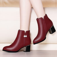 2018新款冬季中跟短靴女粗跟马丁靴英伦皮靴高跟秋季女鞋米色女靴 酒红色 6153绒里