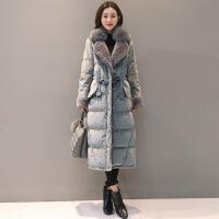 2018冬新款韩版显瘦西装领外套女狐狸大毛领金丝绒羽绒服 蓝灰色