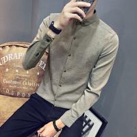 衬衫男长袖2018春季新款韩版潮流修身青年纯色棉麻上衣服男士衬衣