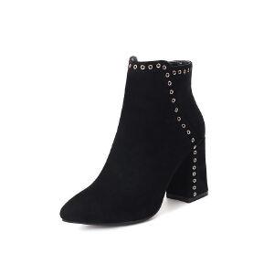 WARORWAR法国新品YG12-L02-03B冬季欧美磨砂牛皮反绒皮真皮粗跟高跟铆钉女士靴子切尔西靴短靴