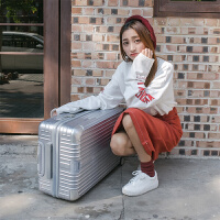 大容量密码箱行李箱女拉杆箱30寸结婚箱学生箱皮箱22寸24寸26寸28 银色 PC-609#镜面-银色 20寸 买一送