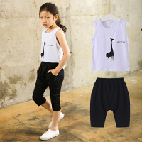中大童装女童洋气新款时髦两件套装韩版潮衣夏季儿童运动