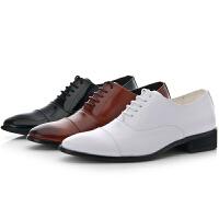 三接头真皮正装皮鞋男尖头系带青年内增高英伦商务休闲棕色鞋子男
