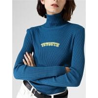 【2件3折 叠券预估价:66.0元】初语高领毛衣女秋季新款纯色刺绣针织衫修身显瘦长袖打底上衣