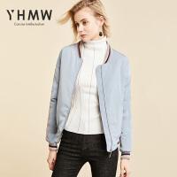 YHMW女短款2018冬装新款棒球服加厚面包服棉衣外套