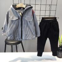 冬款韩版男童条纹连帽加厚加绒保暖时尚外套保暖夹克B-S