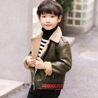 童装男童冬装皮衣2018新款韩版加绒外套男孩上衣秋冬季pu皮夹克潮