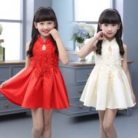 女童夏装连衣裙新款旗袍小女孩中国风背心裙唐装公主裙