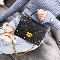 手提包女新款韩版撞色百搭大气时尚单肩斜挎包链条小方包