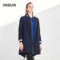 INSUN/恩裳时尚羊皮毛一体正反两穿加厚皮衣外套女2017冬新款