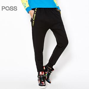 PASS女装春装新款 撞色字母口袋抽绳松紧腰运动宽松长休闲裤6611961011