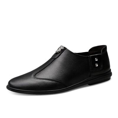 商务皮鞋男冬季加绒韩版真皮结婚新郎休闲鞋英伦潮流男士正装男鞋