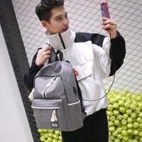 男生USB充电双肩背包韩版大容量高中学生书包男 15.6寸电脑包校园