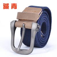 针扣帆布腰带学生腰带针扣皮带 结实耐用真皮带尾